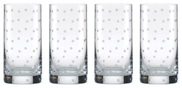 Kate Spade Larabee Dot Hi-Ball Glasses (4 Piece Set) contemporary-cups-and-glassware