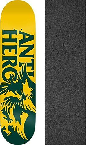 Anti Hero Skateboards Feeding Frenzy Gold / Green Skateboard Deck – 7.75″ x 31.8″ with Jessup Griptape – Bundle of 2 items: Deck Size:…