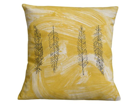 Feather cushion cover.Mustard cushion. by Beccatextile on Etsy