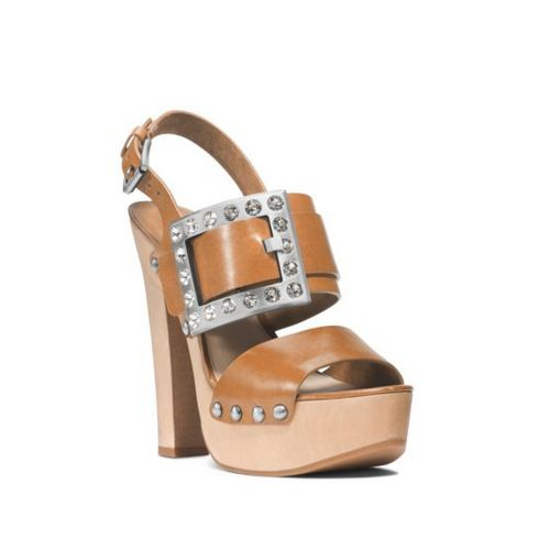 Cheap MK Outlet Online & MICHAEL MICHAEL KORS Alena Vachetta Leather Sandal PEANUT