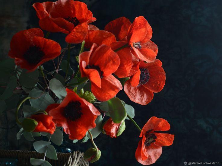 Купить Алые маки .Ботаническая  скульптура из полимерной глины - маки, оригинальный подарок