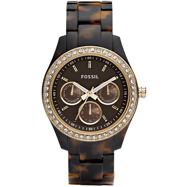 Fossil ES2795 Women's Stella Chronograph Tortoise Shell Plastic Strap... ($145) ❤ liked on Polyvore