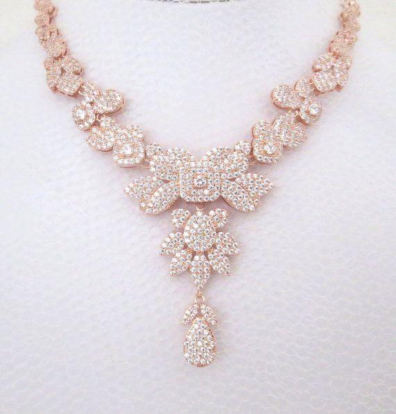 rose gold necklace rose gold bridal necklace wedding jewelry swarovski necklace crystal necklace statement necklace vintage weddi