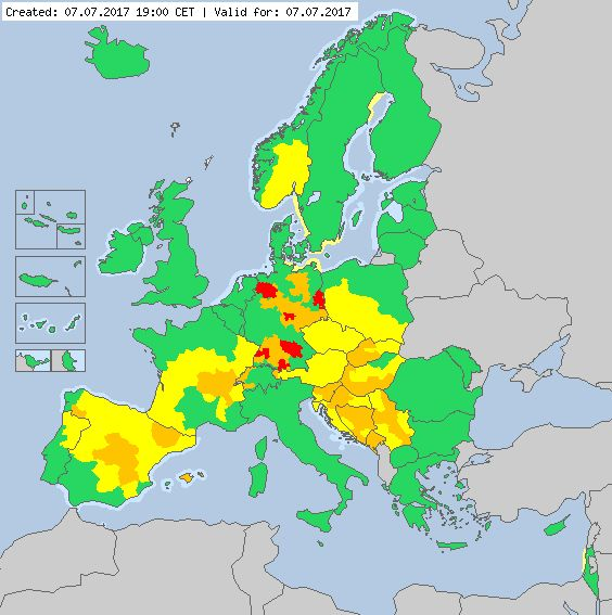 Valid for 07.07.2017 Meteoalarm - severe weather warnings for Europe - Mainpage