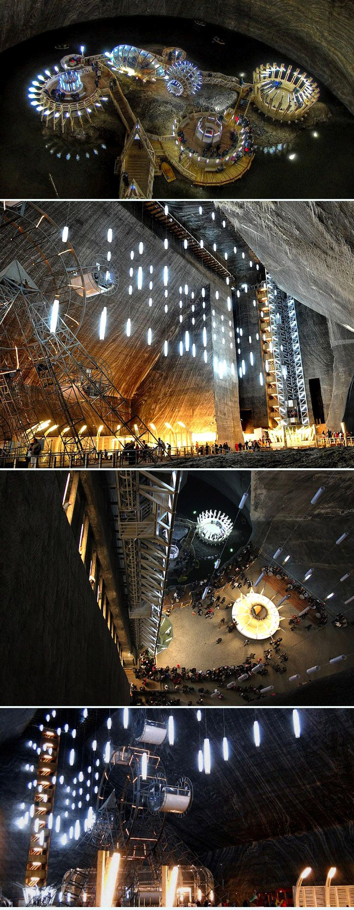 Old Romania Salt Mines Converted Into 370ft Deep Museum ( http://www.mymodernmet.com/profiles/blogs/salina-turda-salt-mines-museum )