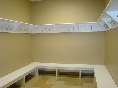 dressing room hangers and benches