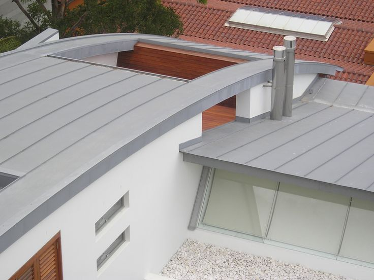 JAA Studios,  Vaucluse residence Sydney.  Clad in Rheinzink pre-weathered Titanium Zinc,  Double standing seam and H25 Panels