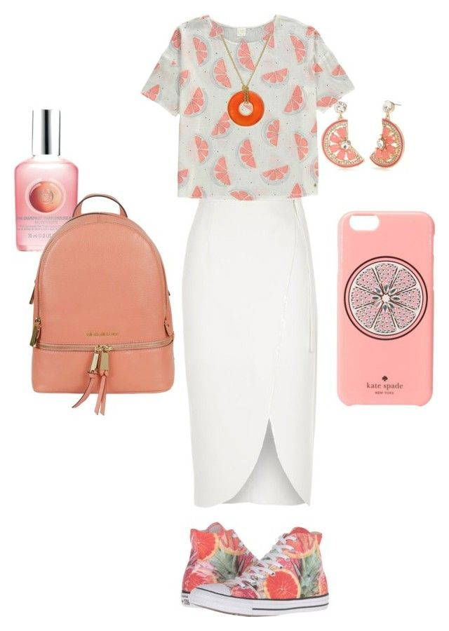 """grapefruits <3"" by lovableln on Polyvore featuring River Island, Converse, The Body Shop, Kate Spade, Michael Kors and Charter Club"