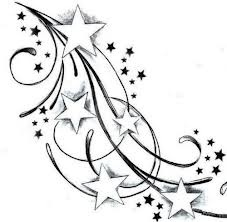 Want this starting close to spine and spreading over shoulder with the kids names in stars or part of the lines