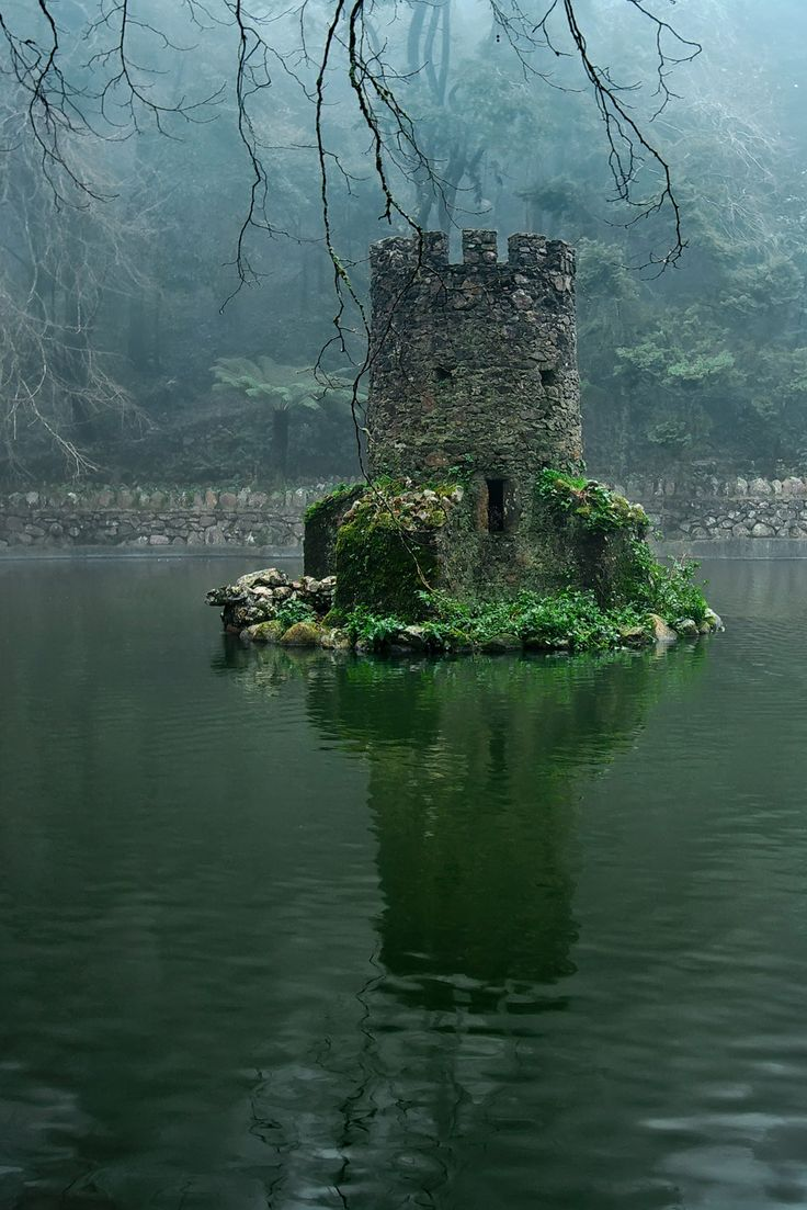 I don't know where this is, but I love it! A little tower in the middle of a lake!