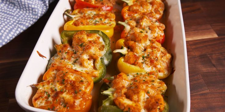 Chicken Parm Stuffed Peppers (make it low carb: grilled chicken & sugar free tomato sauce)