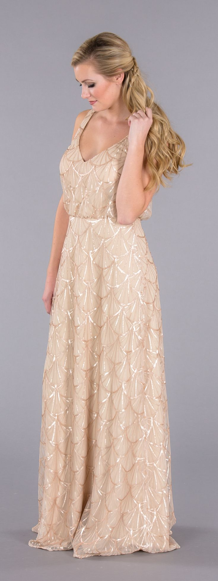 A sparkly sequin bridesmaid dress for under $200! Your 'maids will adore this v-neck dress in our nude-gold color!