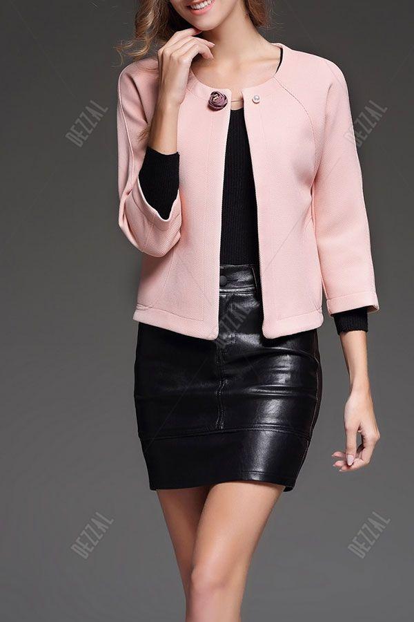 Collarless Brooch Jacket
