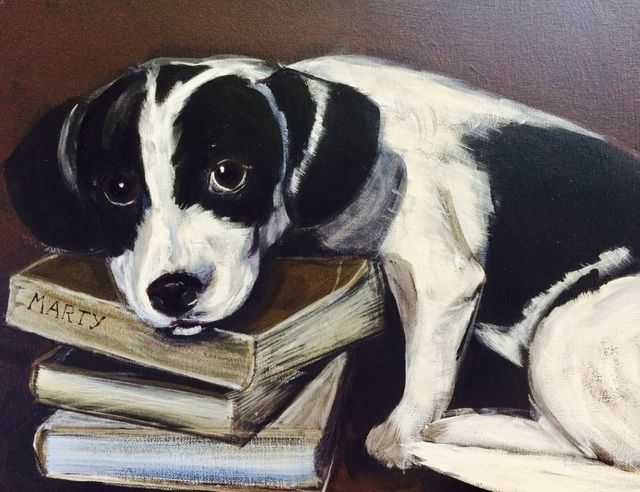 Marty the book loving puppy, acrylic on canvas, pet portrait, Jenny Jump