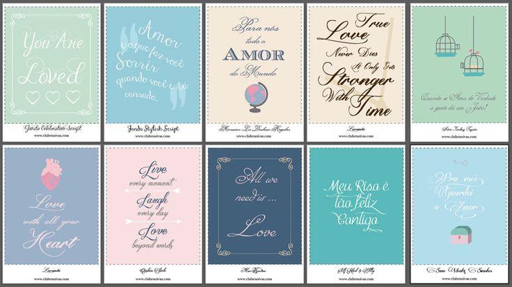 Lista de Fontes Caligráficas ( fontes com Swashes) para convites e artes e quadros com frases de amor para imprimir. Download grátis.