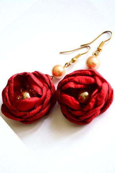 Kolczyki - Róże Czerwone