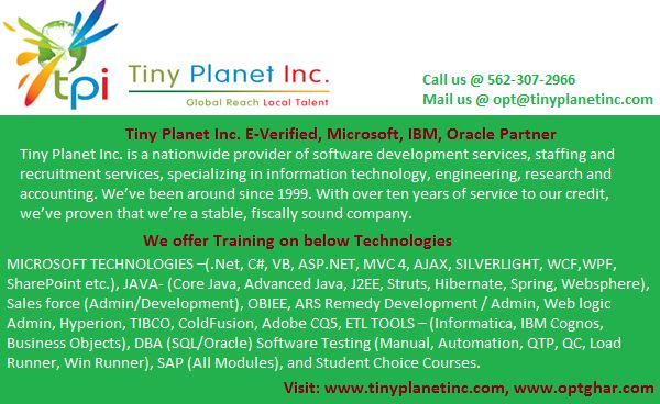 Training and Placements provided for OPT/CPT from E-Verified Tiny Planet Inc. If interested can apply at https://ah168.infusionsoft.com/app/form/othercapturing