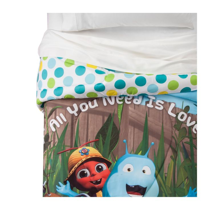 """Beat Bugs """"All You Need is Love"""" Reversible Blue & Green Comforter (Twin) 1pc"""