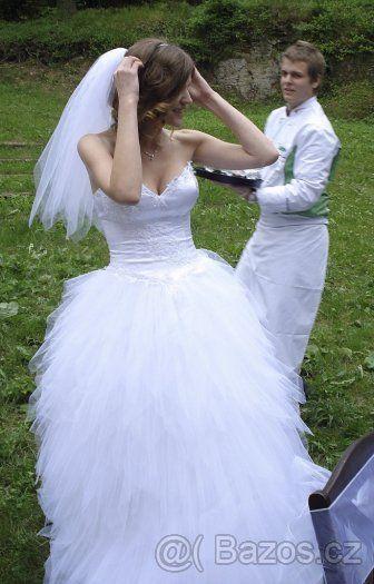 Pohádkové tylové svatební šaty s korzetem - vel. 38 - 1