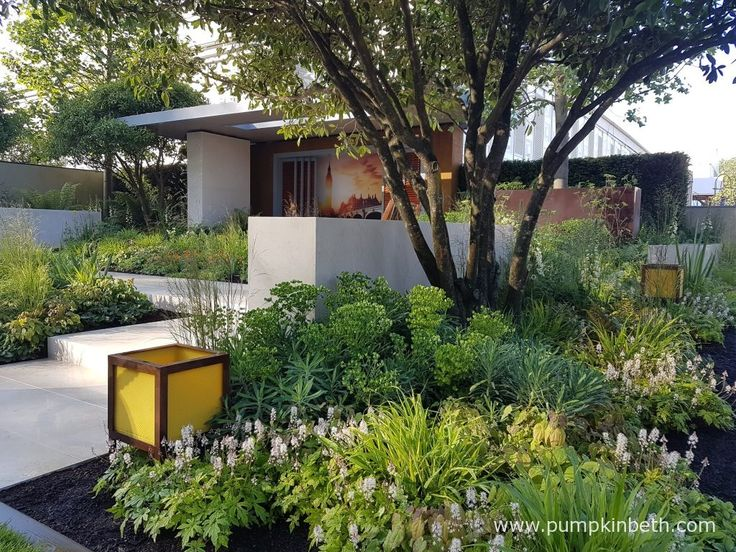Vestra Wealth's Garden of Mindful Living was designed by Paul Martin and built by Beautiful Horizon Landscape. Designed as a contemporary garden, for a busy city resident who requires space to unwind after a busy day at work, The Vestra Weath's Garden of Mindful Living features soft planting with Primulas adding colour and multi stemmed trees bringing dappled shade to this restful space.