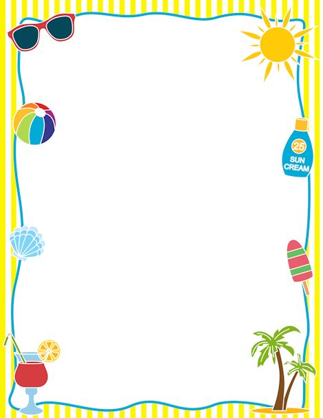 Printable summer border. Free GIF, JPG, PDF, and PNG downloads at http://pageborders.org/download/summer-border/. EPS and AI versions are also available.