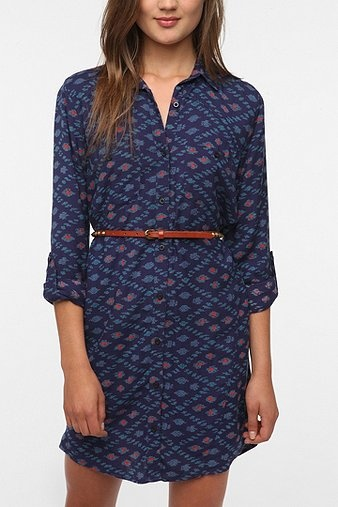 printed shirtdress with belt: Ecot Vagabond, Prints Shirtdress, Vagabond Shirtdress, Blue Dresses, Long Shirts, Shirts Dresses, Closet, Cutest Shirtdress, Dresses Skirts Rompers