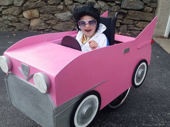 Wheelchair Halloween Costume Ideas for Kids - Elvis Presley and Pink Cadillac - Photo Credit: @samvsvwm