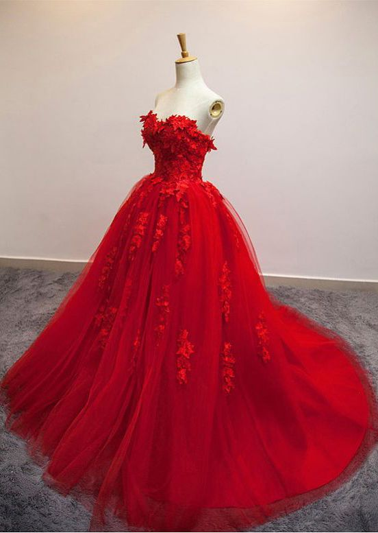Ball Gown,Hot Selling Wedding Dress,A-Line Wedding Dress,Ball Gown Wedding Dress, Poofy Sweetheart Bridal Dress,Red Floral Lace Long Wedding Dress,Strapless Red Tulle Wedding Dress