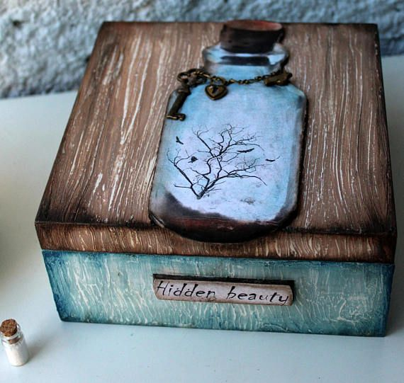 Hidden Beauty, Make Believer, Wooden box, Home Decor, Home and Living, For Her, Bottle, Tree, Birds, Freedom, Beauty, Secret of Life, Magic