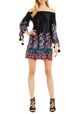 Nicole Miller New York Women's Off-The-Shoulder Border Print A-Line Dress - Black Multi - 10