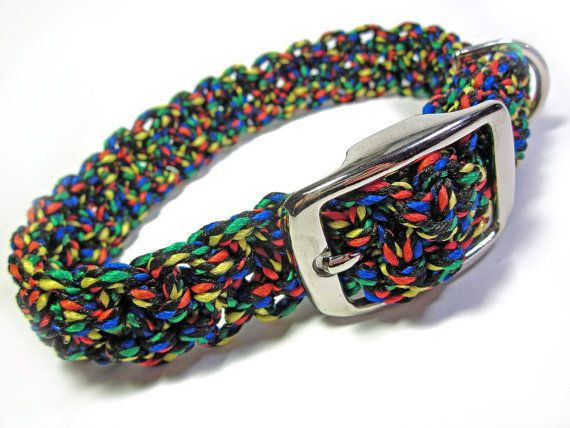 For 10% off entire shop - use Coupon Code PIN10 - Colorful  Black red green yellow blue  Large Dog Macramé by Balilu, $14.00