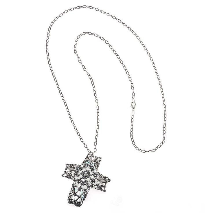Hidden Light Necklace | Beadaholique: Crystals Crosses, Necklaces Encompass, Lights Necklaces, Creative Abound, Swarovski Crystals, Beautiful Swarovski, Hidden Lights