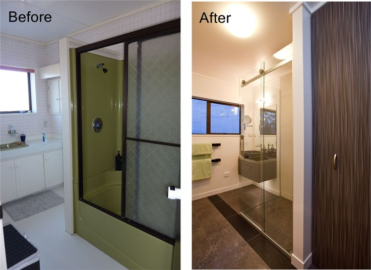 design arc limited | Bathroom makeover for 80's house | laundry cupboard is behind the brown doors