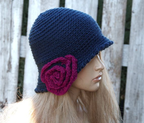 Crochet hat Womens trendy hat Navy blue Rose Handmade by Degra2