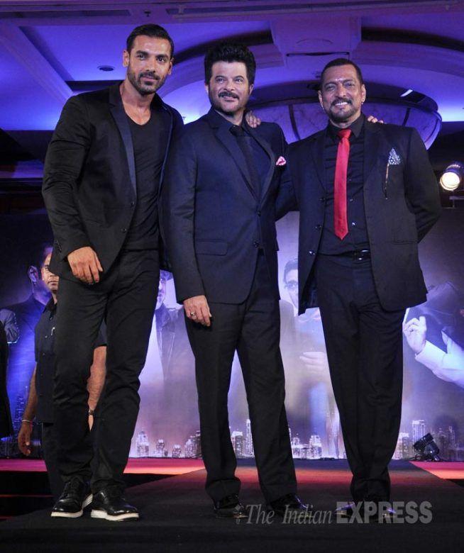 Men in black: John Abraham, Anil Kapoor, Nana Patekar at 'Welcome Back' trailer launch. #Bollywood #WelcomeBack #Fashion #Style