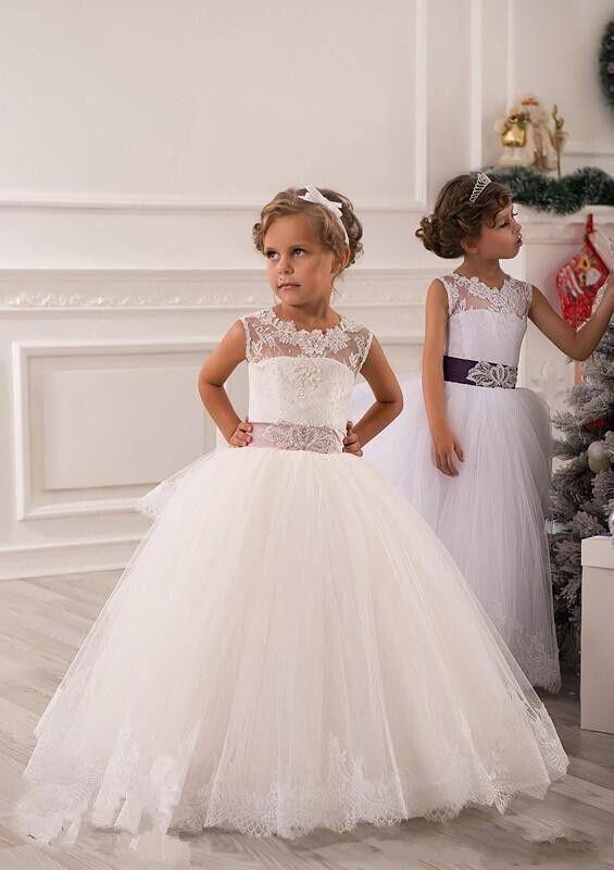 Robes de filles enfant robe filles de fleurs de mariage princesse cérémonie 2-14 | eBay