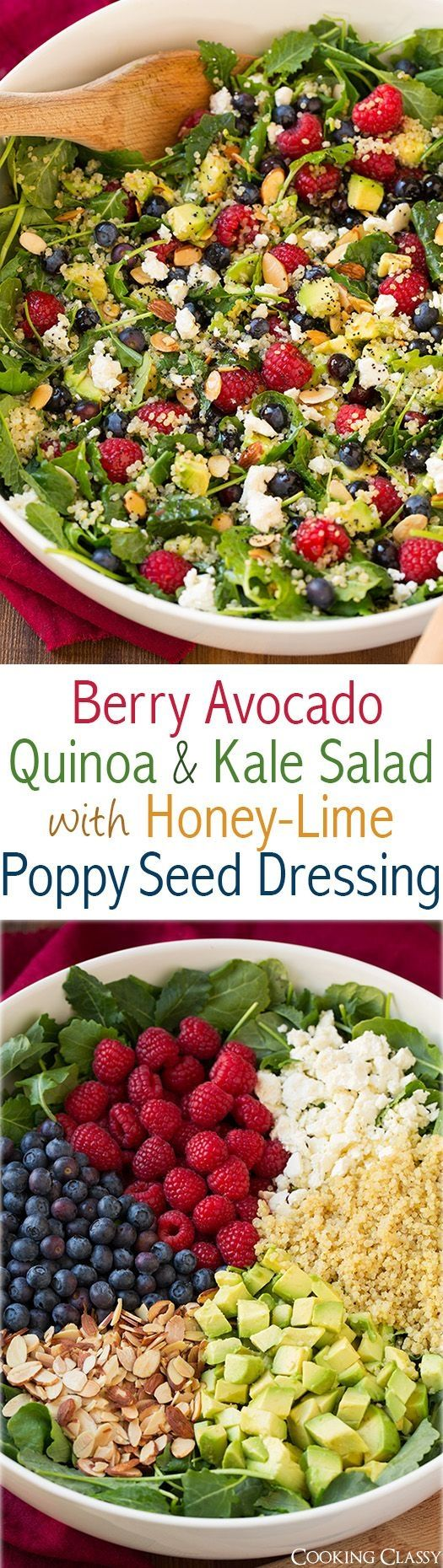 Berry Avocado Quinoa and Kale Salad with Honey-Lime Poppy Seed Dressing - a healthy superfood salad that is full of delicious flavors! You love this one! by aftr