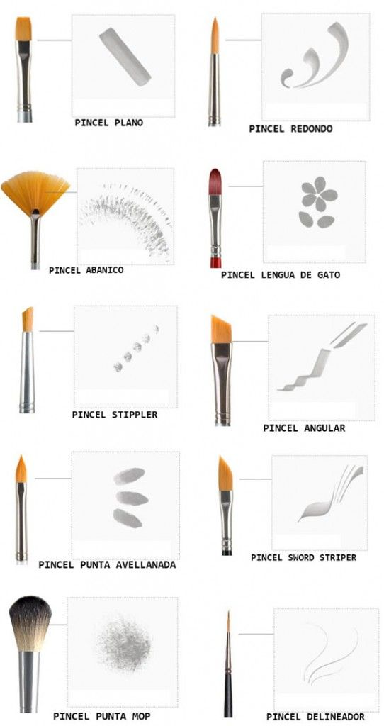 Diferentes tipos de pinceles