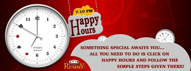 Something special awaits you... All you need to do is click on HAPPY HOURS ( 7pm - 10pm ) and follow the simple steps given below  https://www.facebook.com/ClassicRummy/app_174961479209942  All you need to:  ✔ Login to your Facebook Account  ✔ Go To Classic Rummy FACEBOOK PAGE  ✔ Click on FB HAPPY HOURS button given in FAVORITES  ✔ Like Classic Rummy PAGE  ✔ Contact Live help and ask them for Instant CashBack* https://www.classicrummy.com/?link_name=CR-912