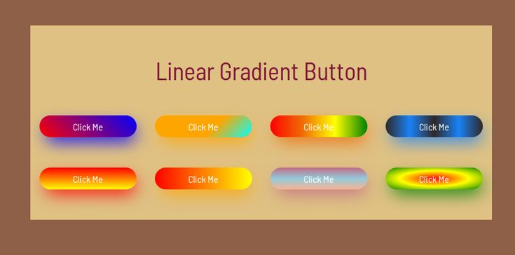 Example of Different types of linear gradient button example using css and bootstrap. link:https://www.nicesnippets.com/snippet/diffrent-types-of-linear-gradient-button-example-using-css-and-bootstrap #example #html #css #snippets #button #gradient #design