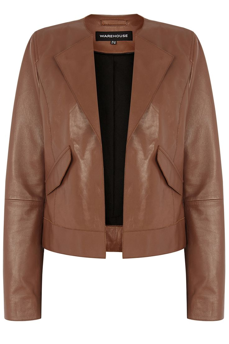 Jackets & Coats | Brown Soft Collarless Leather Jacket | Warehouse