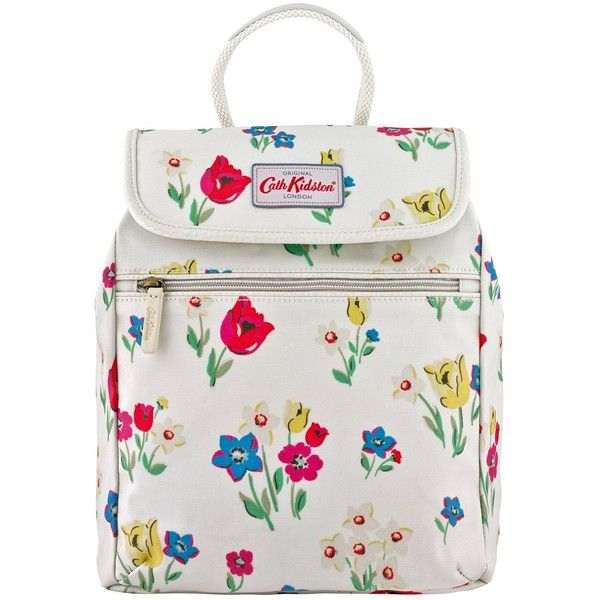 Cath Kidston Paradise Flowers Handbag Back Pack, Cream (565 ZAR) ❤ liked on Polyvore featuring bags, backpacks, vinyl backpack, floral print backpack, top handle bag, pocket bag and flower bag