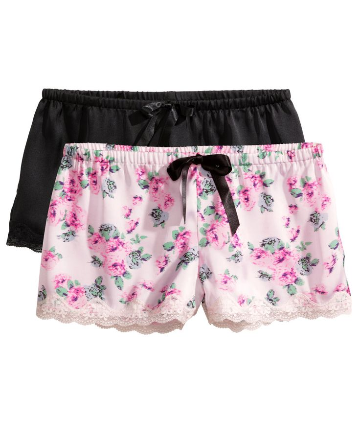 Pack of two pairs of satin pajama shorts in black & pink floral. | H&M Nightwear