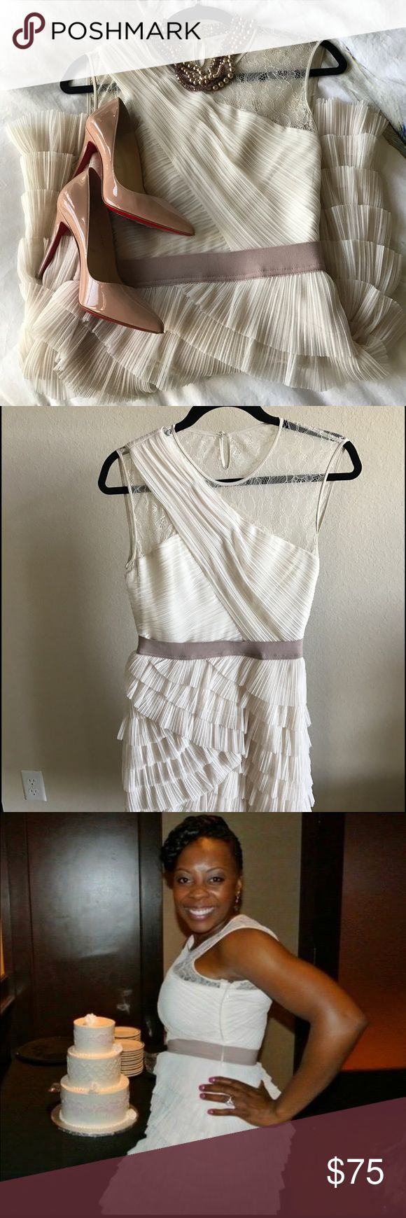 Cream cocktail dress Very cute cream/off white cocktail dress. Perfect for any party. I only wore it once. It needs a new home 😊 please make me an offer. It's a size 8 but it runs small I'm usually a 4-6. Make me an offer!!!!! BCBG Dresses Mini