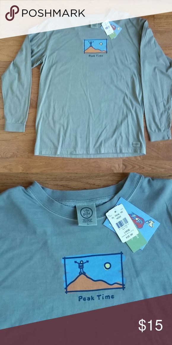 Life is good long sleeve tee peak time 100% cotton life is good long sleeve tee shirt. Color is called moss. It is grey/green. Comfortable quality cotton material. Life is Good Shirts Tees - Long Sleeve