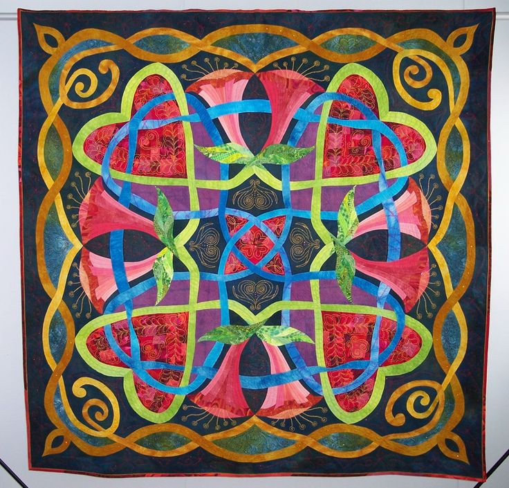 """Heartsong 73.5""""x74.5"""" by Elsie Vredenburg. Celtic-inspired quilt. Made using Ricky Tims' Rhapsody technique."""