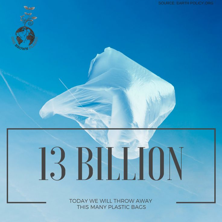 Today 13 billion plastic bags will be thrown away! What are you doing to reduce this? www.onebrownplanet.com