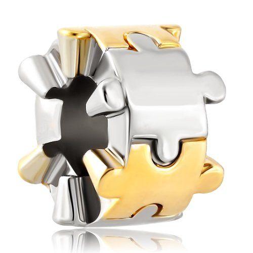 Autism Ravensburger-Puzzle in argento Sterling, con charm a forma di mostro, con gioielli Pandora-Bracciale con perline