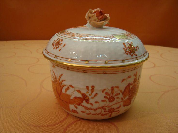 Herend Porzellan große Bonboniere Zuckerdose  Fleurs des Indes 1601 /FH orange