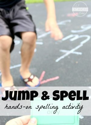 Jump & Spell - What a FUN hands on spelling activity for elementary age kids in kindergarten, 1st grade, 2nd grade, 3rd grade, and 4th grade). Perfect for homeschool, homework, and summer learning for kids.